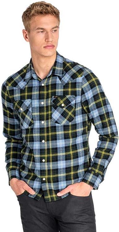 Lee Camisa Western Azul Hombre Large Azul: Amazon.es: Ropa y ...