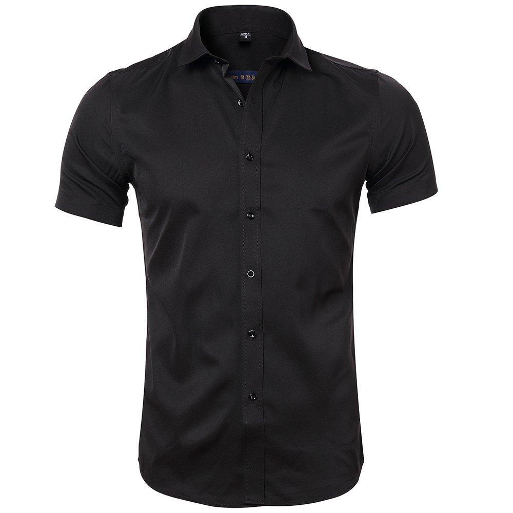 INFLATION Mens Bamboo Fiber Dress Shirts Slim Fit Short Sleeve Casual Button Down Shirts, Elastic Formal Shirts, Black, US Size S (Tag41)