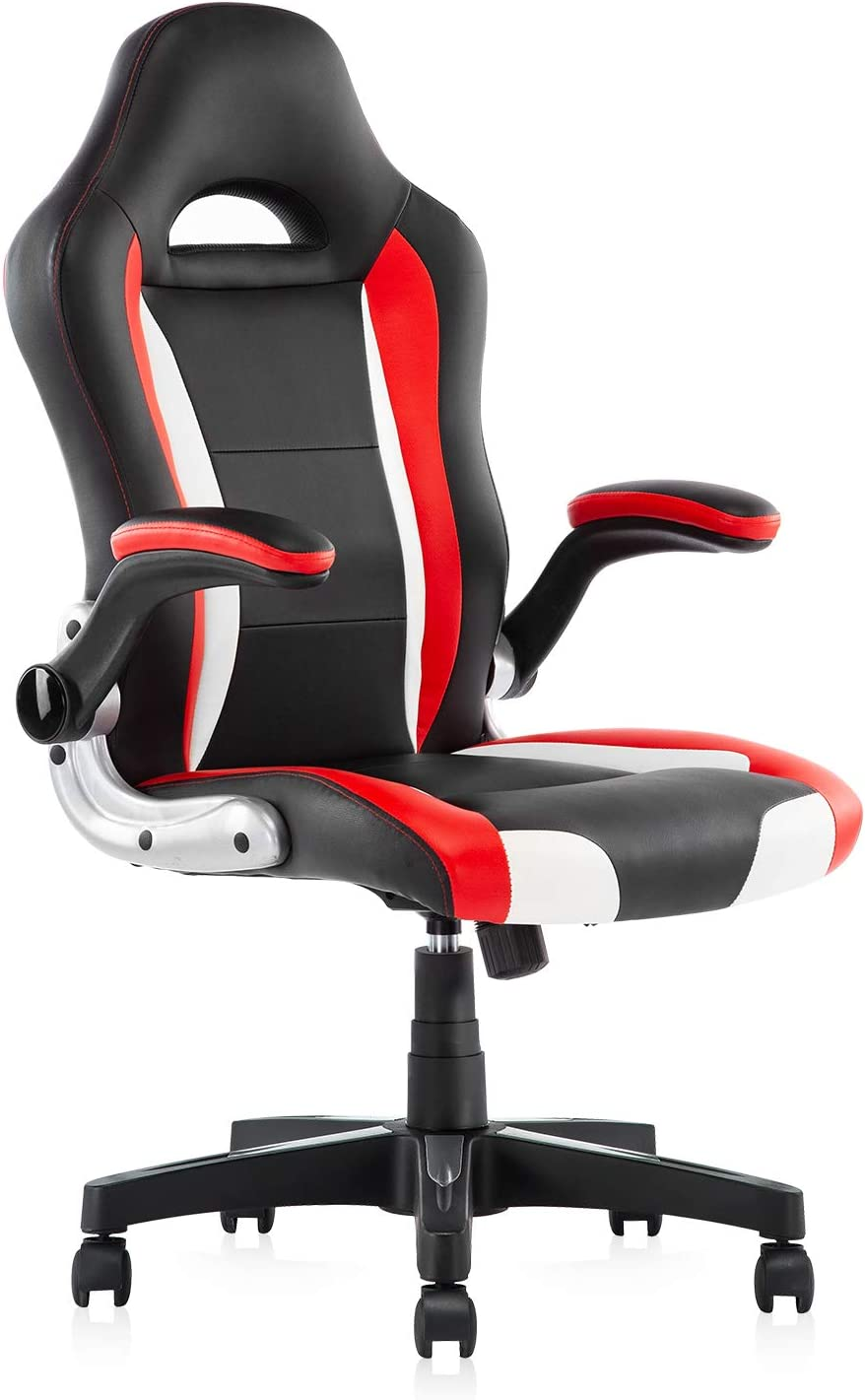 Computer Gaming Chair – Racing Chair pu Leather Bucket Seat,Ergonomic Office Chair High Back Lumbar Support Executive Desk Chair Red Black
