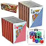 Joyin Toy 12 Decks Poker Size, Regular Index Playing Cards (6 Red/6 Blue) with Poker Chips and Dice