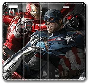Avengers Age Of Ultron Artwork iPhone 6 plus Case, Leather Cover for iPhone 6 plus Premium Soft PU Leather Wallet Cover - Verizon, AT&T, Sprint, T-Mobile, International, and Unlocked with Black PC Hard Case Inside for iPhone 6 plus by iCustomonline