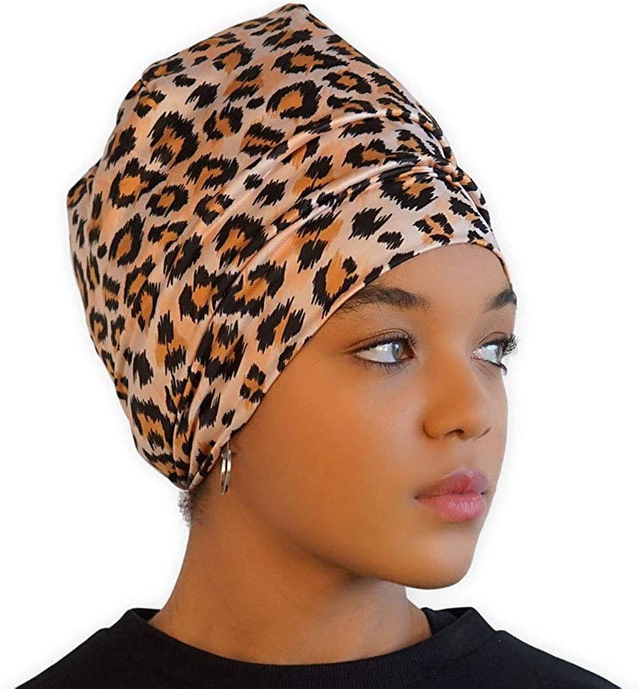 Satin Lined Sleep Cap - Silk Feel Sleeping Bonnet/Hair Wrap for Women - Natural Curly Hair Head Cover & Night Slap Caps: Clothing