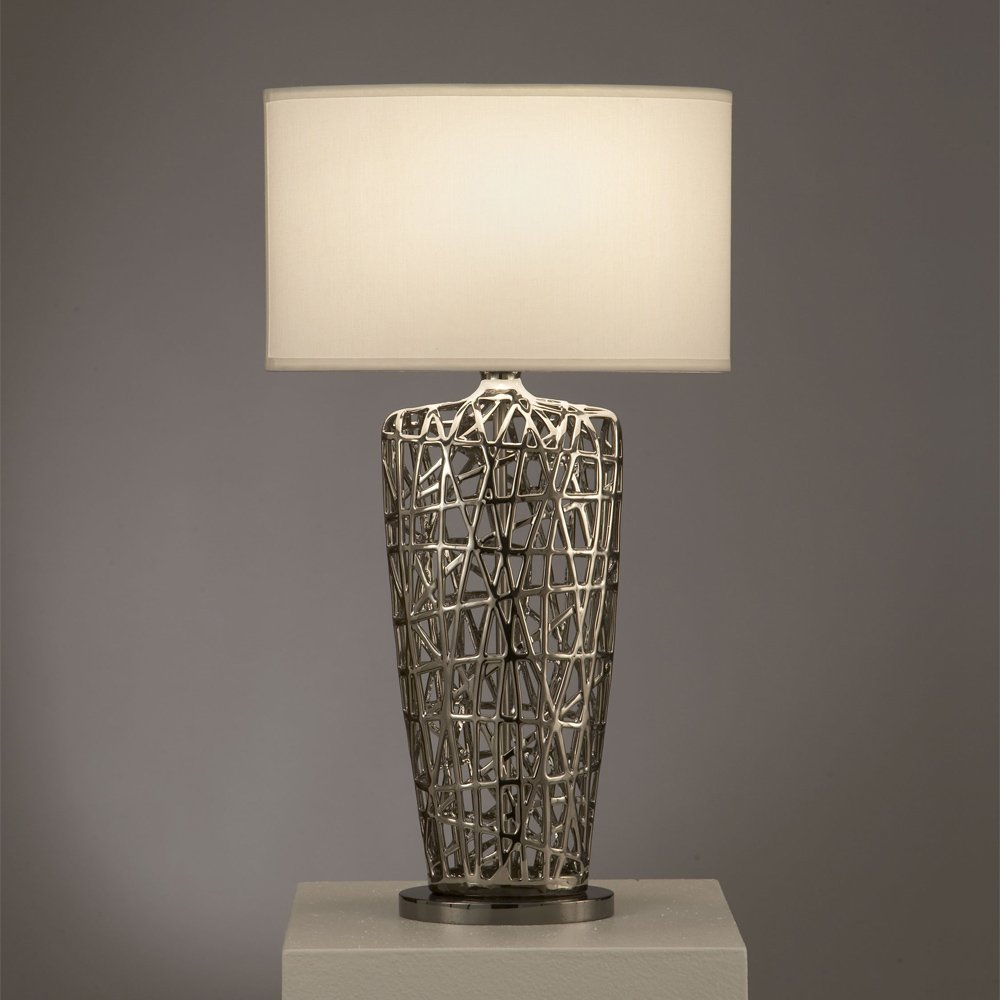 Nova Lighting Bird's Nest Heart Table Lamp, Silver