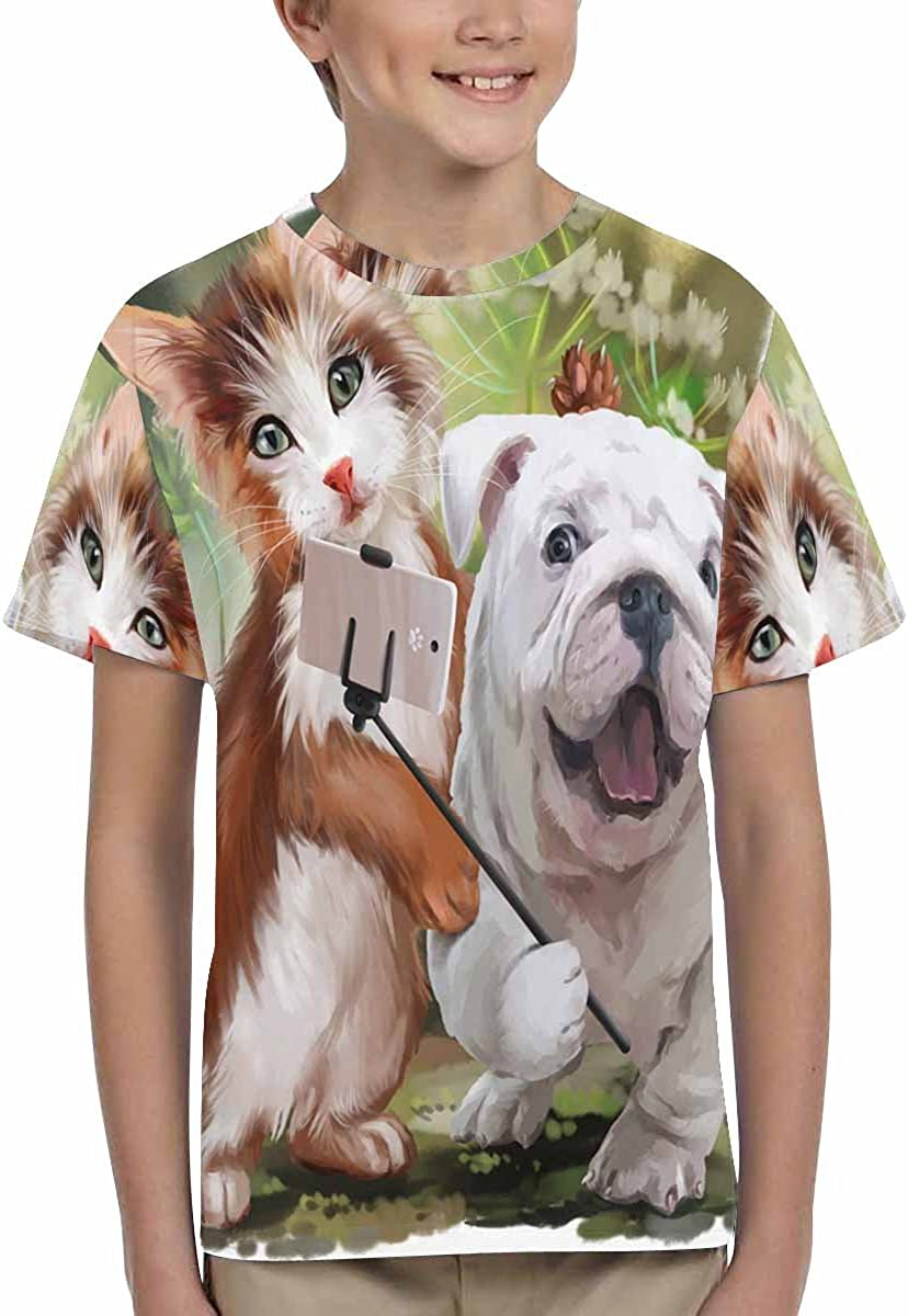 INTERESTPRINT Cat and Dog Pose for A Selfie Unisex Kids T-Shirts XS-XL