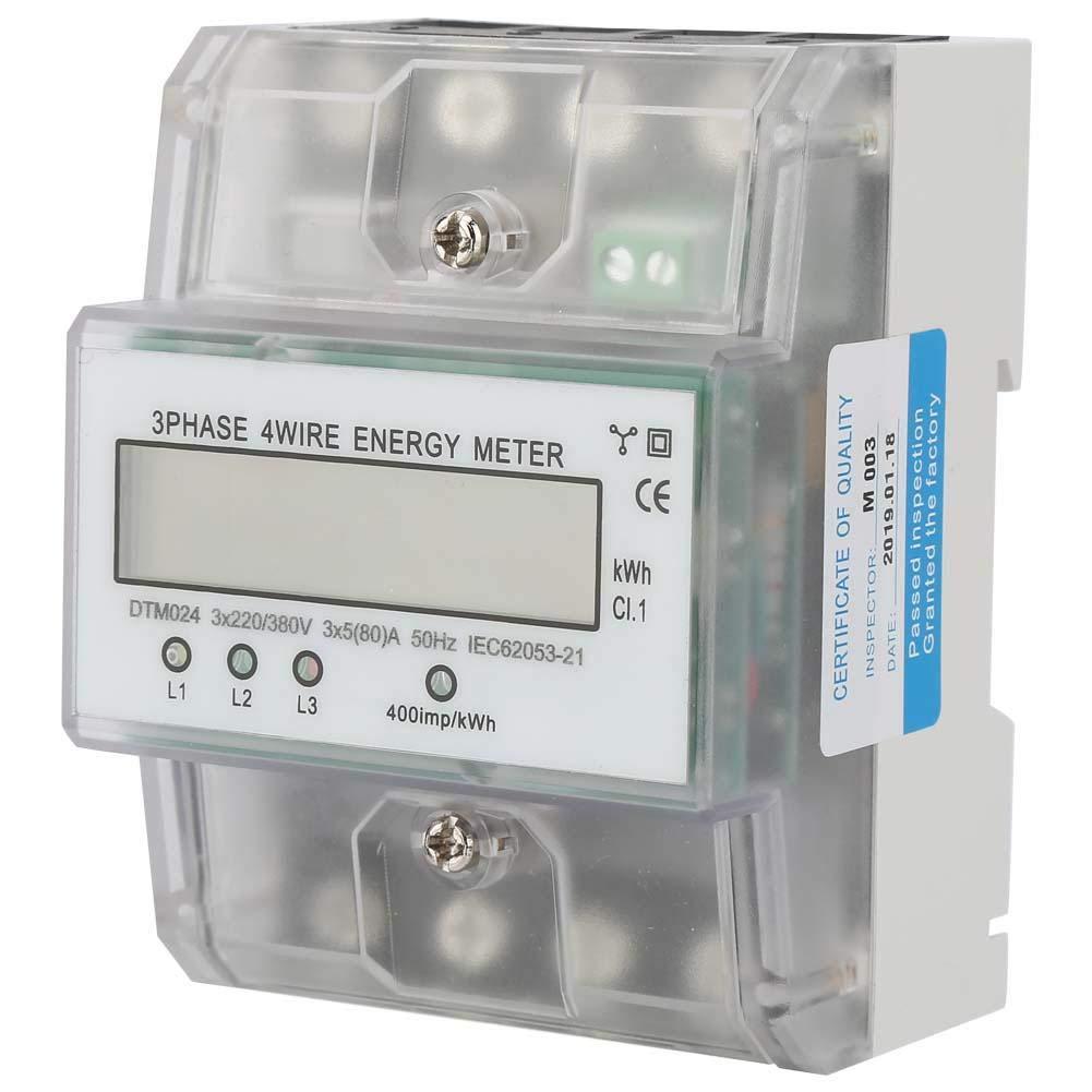 380V 5-80A Leistungsmesser mit LCD 220 Energieverbrauch Digitaler Leistungsmesser 3 Phasen 4P KWh Z/ähler