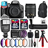 Holiday Saving Bundle for D3300 DSLR Camera + AF-P 18-55mm + Battery Grip + 6PC Graduated Color Filter Set + 2yr Extended Warranty + 32GB Class 10 Memory Card + Backpack - International Version