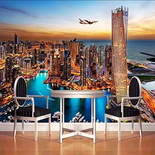 RTFC Dubai City Night View Mural Wallpaper Custom Wall Painting Living Room Tv Background Photo Wall Paper Rolls 3D-200X140Cm
