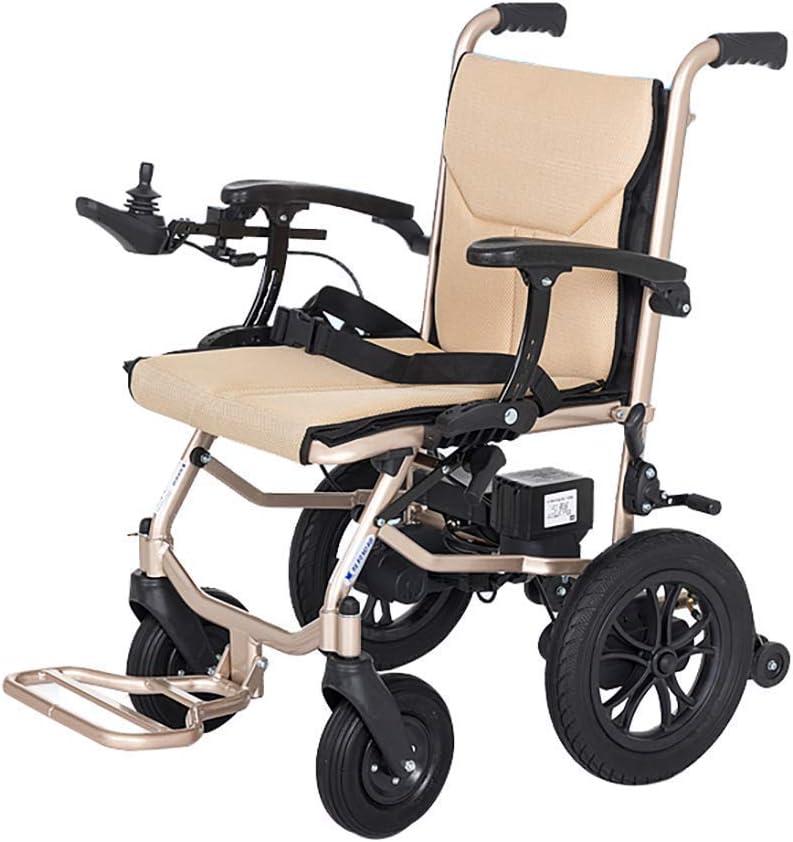 Silla de ruedas eléctrica liviana para ancianos y discapacitados Plegable doble motor Scooter portátil para ancianos Adecuado con silla eléctrica Alcance de 12 millas Asiento de 45 cm de ancho,Beige
