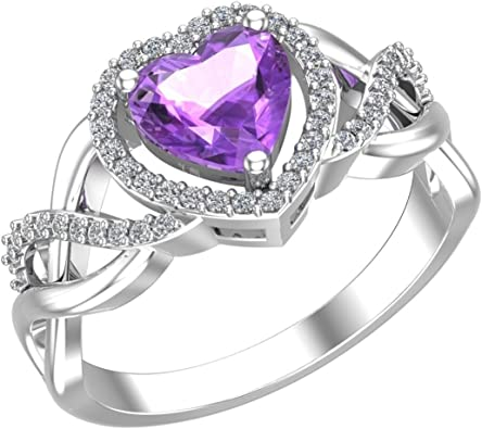 Sterling Silver Halo Heart Ladies Ring w// Round /& Heart Cut Colored CZ Stones