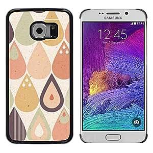 TopCaseStore / la caja del caucho duro de la cubierta de protección de la piel - Drop Raindrop Tear Pattern Pastel Shape - Samsung Galaxy S6 EDGE SM-G925