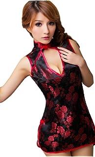 c174b56c8 Lingeriecats Sexy Chinese Shanghai Cheongsam Costume Red, Black (Free Sport  Pant)