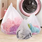3PC Mesh Laundry Bags for Delicates,Reusable Drawstring Laundry Washing Bag for Bra, Lingerie, Socks, Tights, Stockings, Baby Clothes (White,set 3 sizes)