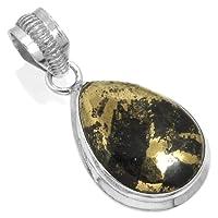 Jeweloporium Solide 925 Sterling Silver Pendentif Naturel Or Pyrite dans Magnétite Pierre gemme Collectible Bijoux