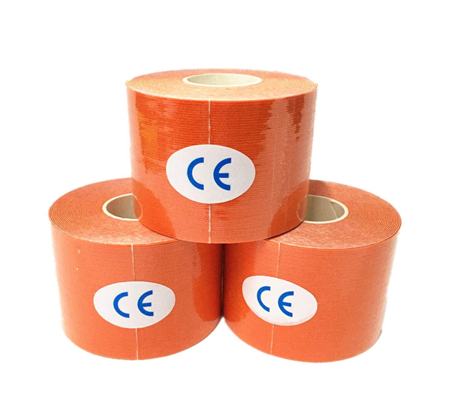 Kinesiology Tape Precut 3pcs Set Elastic Therapeutic Sports Tape for Knee Shoulder and Elbow, Breathable, Waterproof, Latex Free, 2'' x 16.5 Feet per Roll, Orange by ReachTop