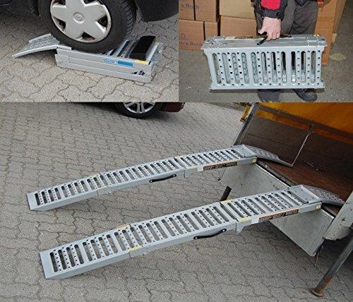 2x Auffahrrampe Stahl 500 Kg (Traglast Paar) klappbare faltbare Rampe Auffahrschiene Motorradrampe Auffahrbock (Traglast 1600 Kg Paar) Baumarktplus 37279