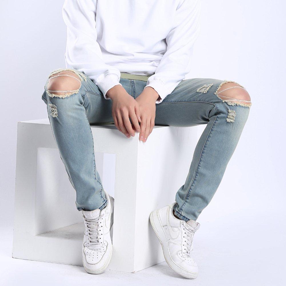 Wenseny Mens Blue Stretch Washed Slim Fit Jeans Destroyed Knee Holes Denim Pants