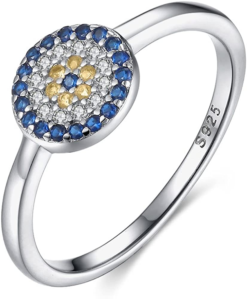 TONGZHE Dia.8mm Round Blue Evil Eye Band Ring in Sterling Silver 925 with Cubic Zirconia Size 6-8