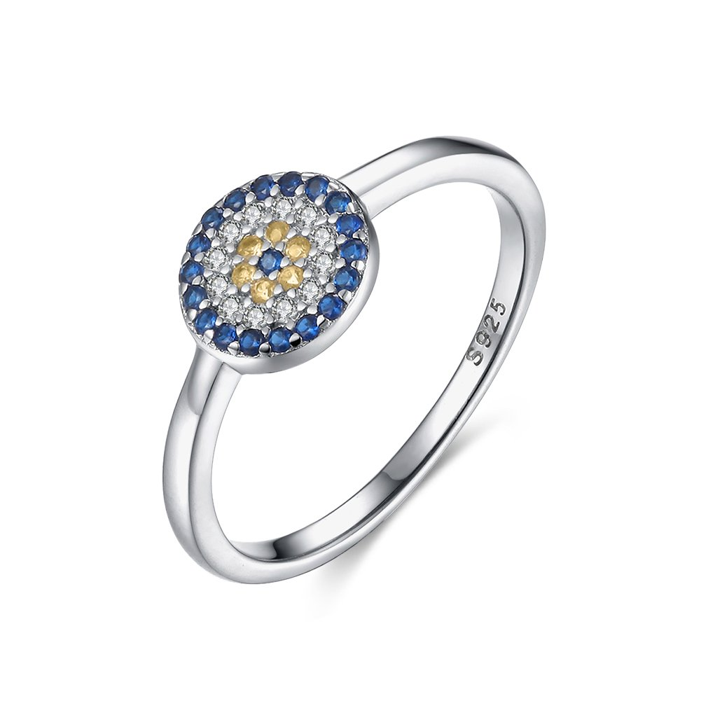 Tongzhe Dia.8mm Round Blue Evil Eye Band Ring in Sterling Silver 925 with Cubic Zirconia[Size 8]