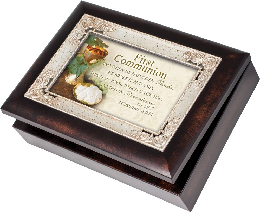Cottage Garden First Communion Burlwood With Silver Inlay Italian Style Music Box / Jewelry Box Plays How Great Thou Art by Cottage Garden [並行輸入品] B00BRXC72I