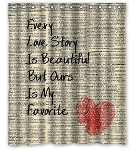 Custom Personalized Home Decor Love Story Heart Newspaper Bathroom Shower Curtain 66