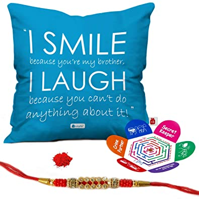 Indigifts Birthday Gift For Brother I Smile Laugh Quote Printed Cushion Cover 12x12 Inches