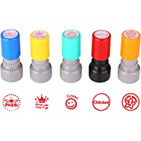 TEKEFT Pack of 5 Sorted Teachers Self-Inking Rubber Stamps Teacher Review Photosensitive Stamps for Education