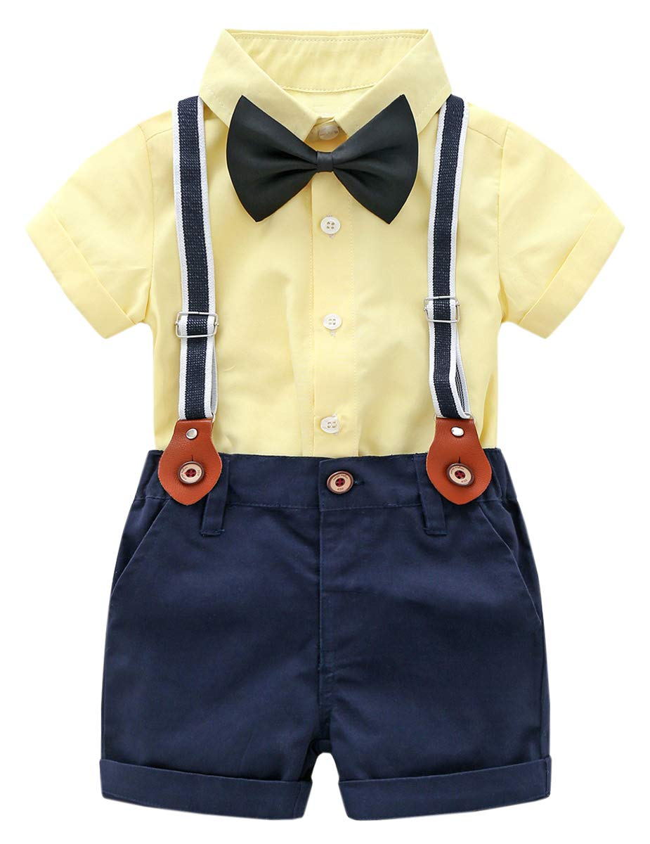 DAIMIDY Baby Boys Summer Clothes, Short Sleeves Button Down Dress Shirt and Suspender Pants Set Tuxedo Gentlemen Outfit with Bow Tie, Yellow, 2-3 Years = Tag 100