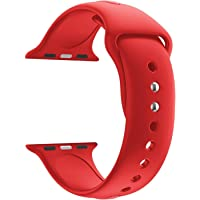 illuxi Sport Soft Silicone Strap for Apple Watch Band 44mm Iwatch Series 4 Wrist Strap Bracelet Watchband (44 MM, Red)
