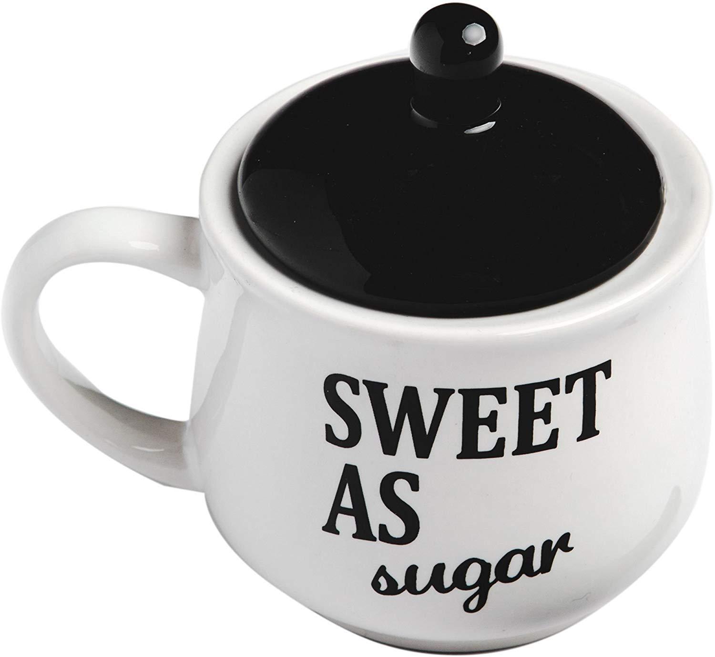 Set Sugar Bowl and Cream Server Holder Ceramic Black /& White Farmhouse Table Kitchen Decor