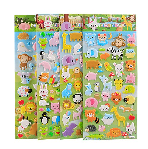 4 Sheets Cute Lovely Puffy DIY Decorative Adhesive Sticker Tape/Kids Craft Scrapbooking Sticker Set for Diary, Album (Cute Animals)
