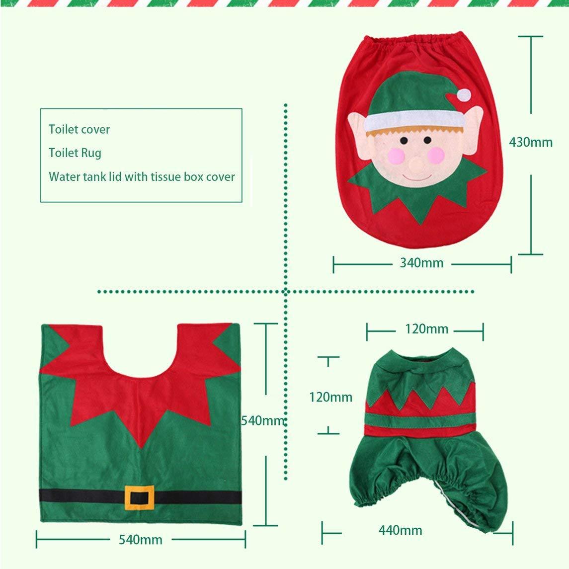 Copri Wc Babbo Natale.Footprintse 3 Pezzi Set Decorazioni Natalizie Per La Casa Elfo