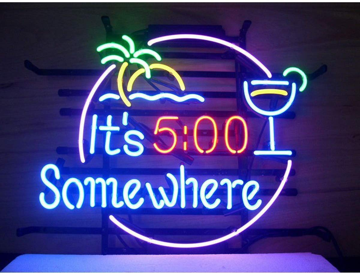 LDGJ 500 5:00 Somewhere Neon Home Beer Bar Pub Recreation Room Game Lights Windows Glass Wall Signs Party Birthday Bedroom Bedside Table Decoration Gifts (Not LED)
