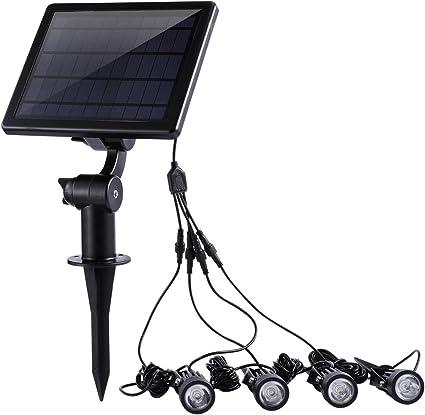 eTopLighting 3LED Solar Garden Spotlight 4 Pack Adjustable Solar Panel for Land
