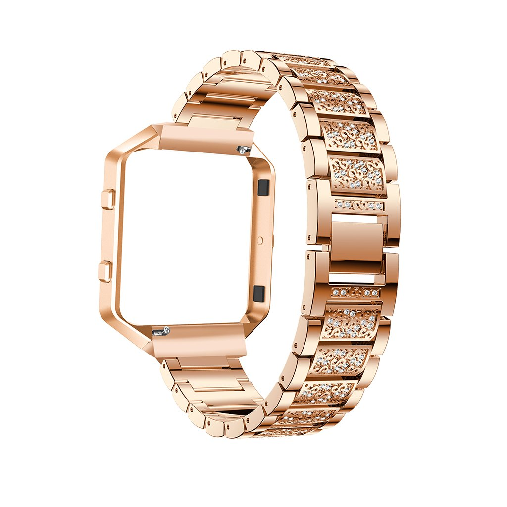 iTerk For Fitbit Blaze Bands,Stainless Steel Metal Replacement Wristband With Frame Bling Rhinestone Adjustable Bracelet Durable Silver Rose Gold Black