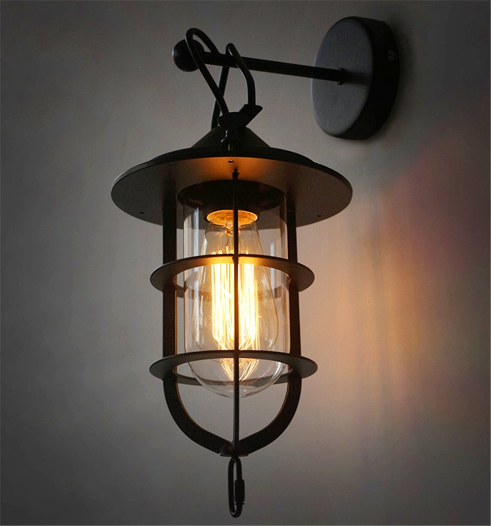 TastyHome Retro Vintage Rustic Industrial Wall Light Loft Lantern American Farm House Lantern Lighting for Hallway Living Room Corridor Hotel