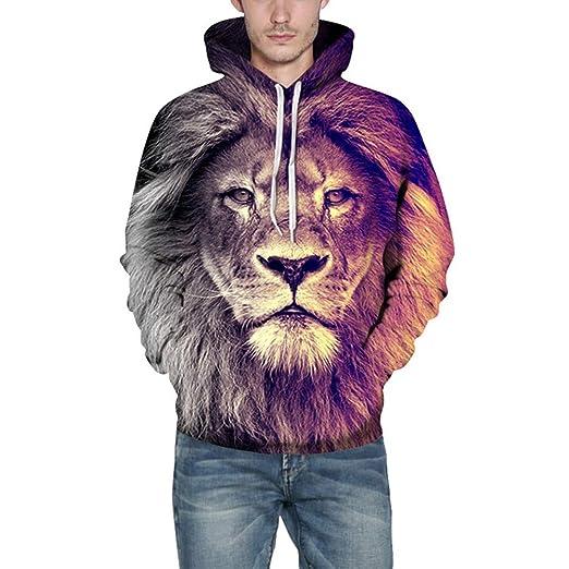 Birdfly Animated Lion Print Fashion 3D Animal 2018 Fall Winter Fashion Men Hoodie (S/