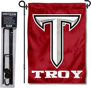 College Flags & Banners Co. Troy Trojans Power T Garden Flag with Pole Stand Holder