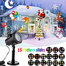 Led Christmas Light, DALLEX Star Shower Slide Show dynamic lighting with 15 Colorful Slides, Christmas Gift for Indoor & Outdoor Waterproof Landscape Lighting Spotlight,Perfect Decoration for Festival