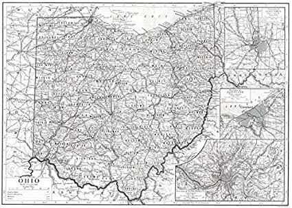 Amazon.com: OHIO. State map showing counties; Inset Columbus ...