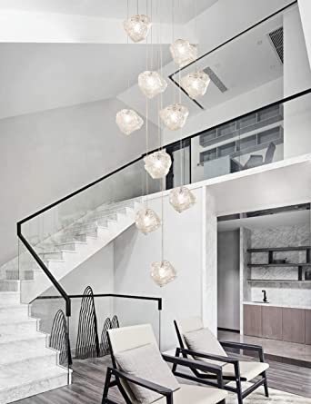10 Sombra de cristal Lámpara de araña Lámpara colgante larga Edificio dúplex Lámpara grande Sala de estar Villa Hueco Lámpara de escalera minimalista moderna 40x200cm: Amazon.es: Iluminación