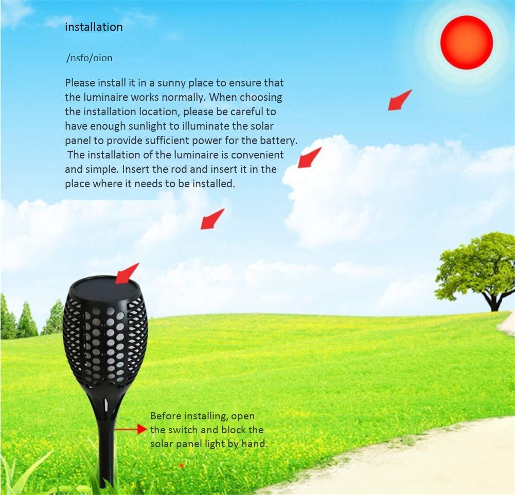 ZJQTT Antorcha Solar Iluminación de luz Impermeable Luz Solar ...