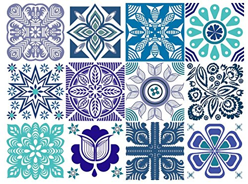 MARINA Decorative Tile Stickers Set 12 units 6x6 inches. Peel & Stick Vinyl Tiles. Backsplash. Home Decor. Furniture Decor. (Tiles Backsplash Decor)