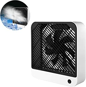 Portable Desktop Air Circulation Battery Fan - 3 Cooling Speeds,Rechargeable Battery Operated Desk Fan, Square Frame Fan w/Hybrid Airflow Blade, Liquid and Air Cooler
