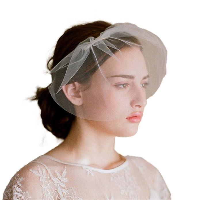 Elegant Perlen Fascinator Birdcage Schleier Gesichtsschleier Braut Schleier