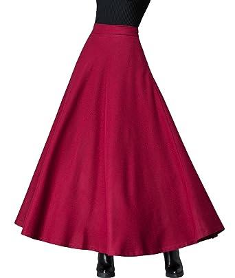 ddb42495be Femirah Women's Burgundy Winter Thick Skirt Long Maxi Wool Skirt (Waist:  79cm-84cm