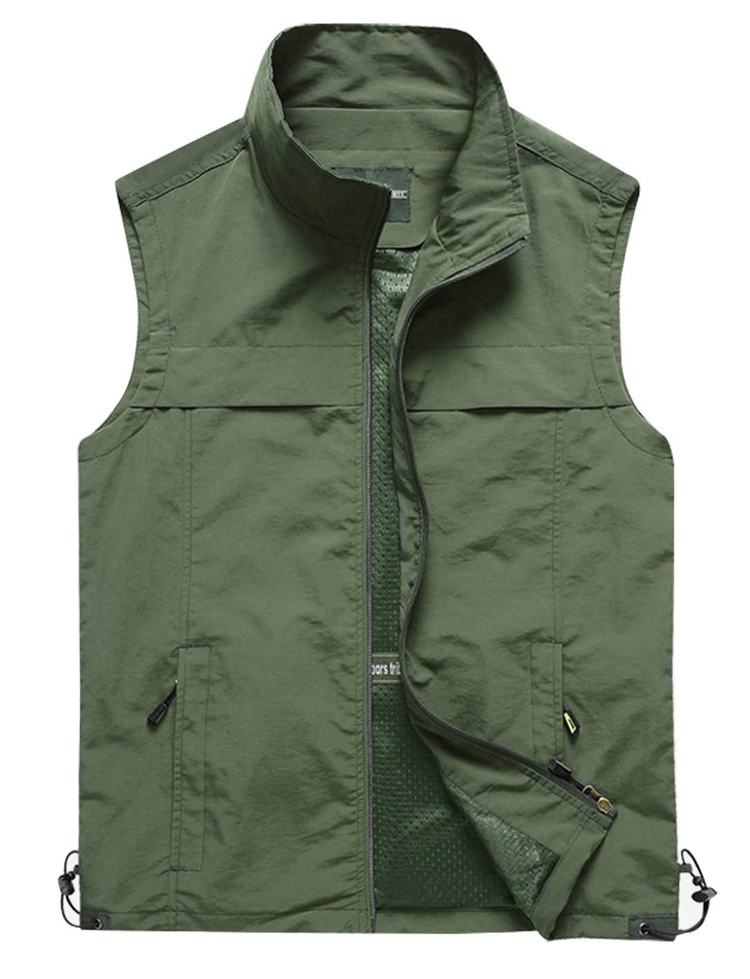 Gihuo Men's Lightweight Quick Dry Outdoor Multi Pockets Fishing Vest (X-Large, Style3-Army Green) by Gihuo