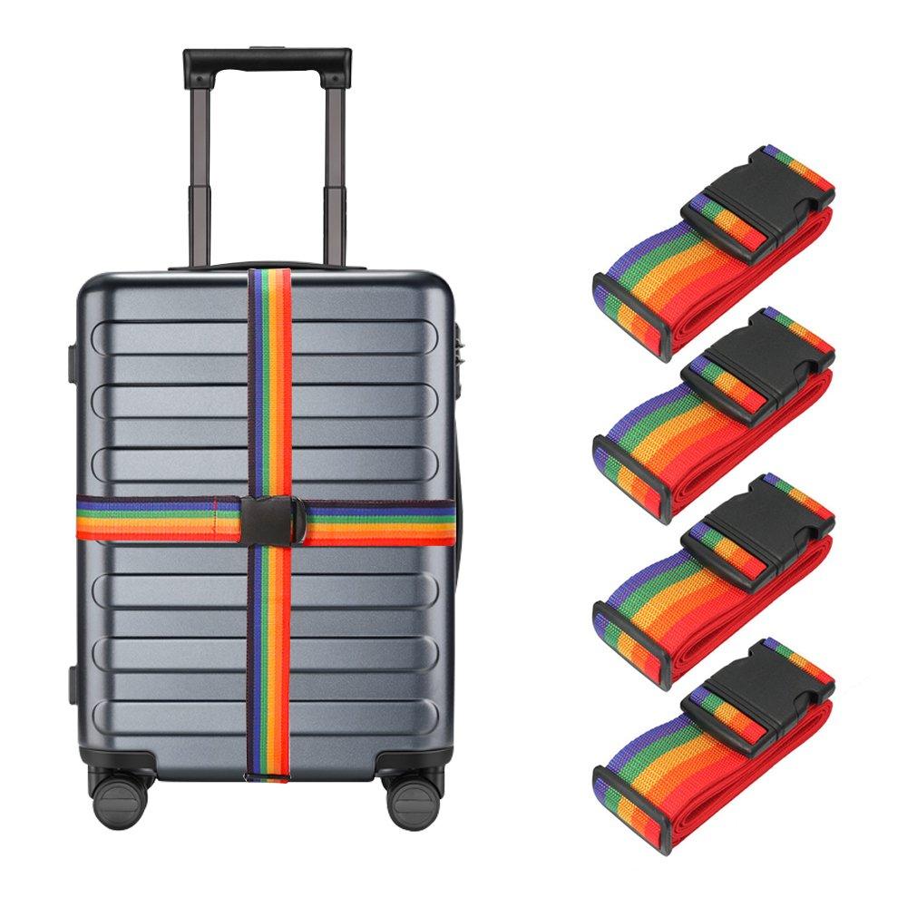 LSHCX Luggage Straps Suitcase Belt Travel Accessories, 4 Pack (Multicolor)
