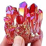 red quartz - mookaitedecor Titanium Coated Natural Rock Crystal Quartz Cluster Stone Specimen,Red
