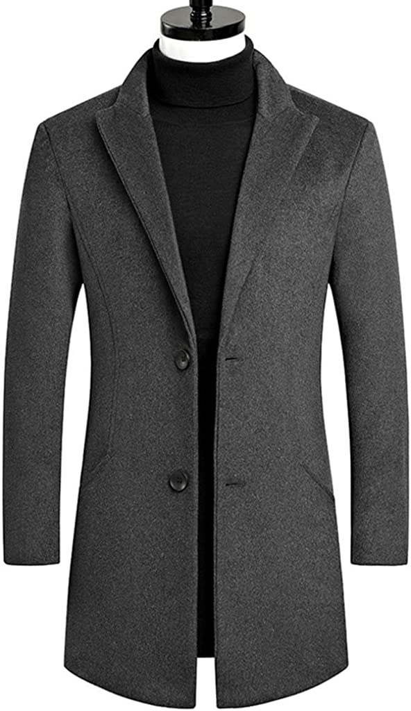 JJHAEVDY Men/'s Single Breasted Notched Collar Overcoat Jacket Long Pea Coat Winter Trench Coat Slim-Fit Business Coat