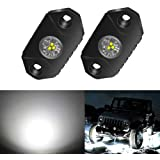 4WDKING White LED Rock Lights, 2 Pods IP68 Waterproof Underbody Glow Trail Rig Lamp LED Neon Lights for Truck Jeep Off Road T